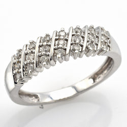 Vintage 14K White Gold Diamond Diagonal Three-Row Band Ring