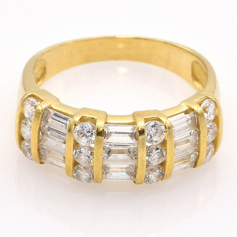 Vintage 14K Yellow Gold Diamond Three-Row Band Ring