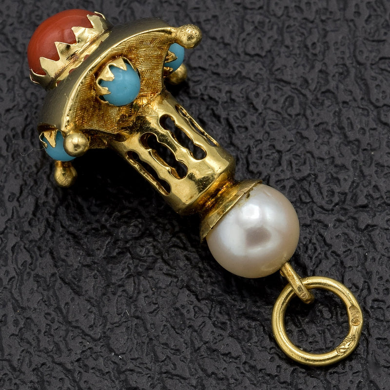 Vintage 14K Yellow Gold Sea Pearl, Turquoise & Coral Charm Pendant
