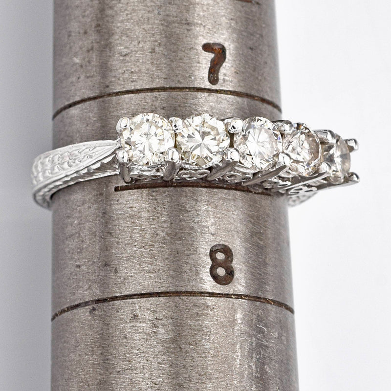 Antique 14K White Gold 1.15 TCW Diamond Etched Band Ring