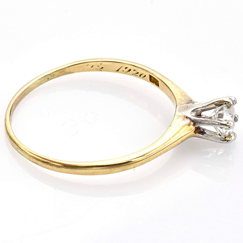 Antique 14K Yellow Gold Old Euro Cut Diamond Solitaire Band Ring