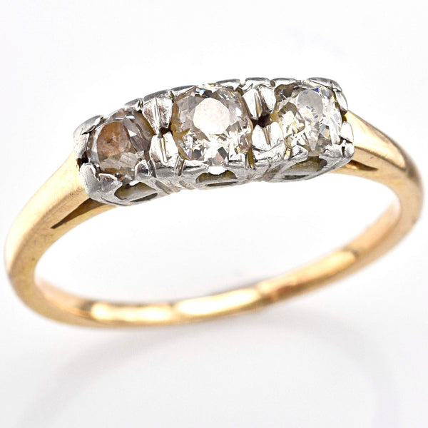 Antique 14K White & Yellow Gold Old Euro Diamond Band Ring