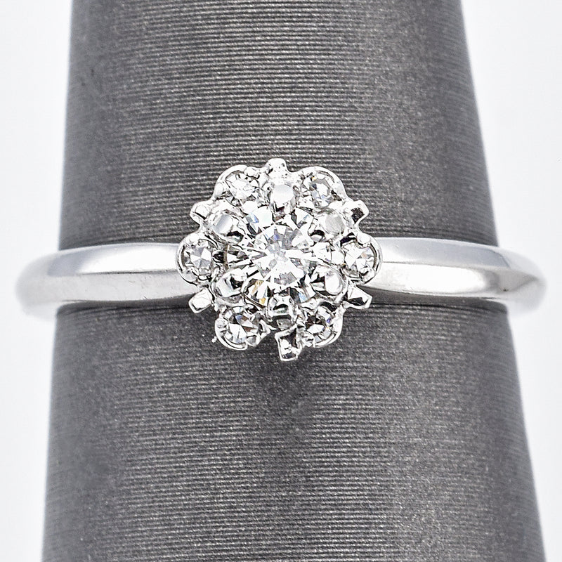 Vintage 14K White Gold 0.17 Ct Diamond Band Ring E/F VS-2