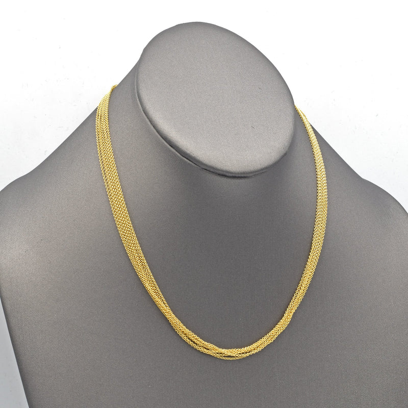 Vintage 18K Yellow Gold Multi-Chain Toggle Necklace
