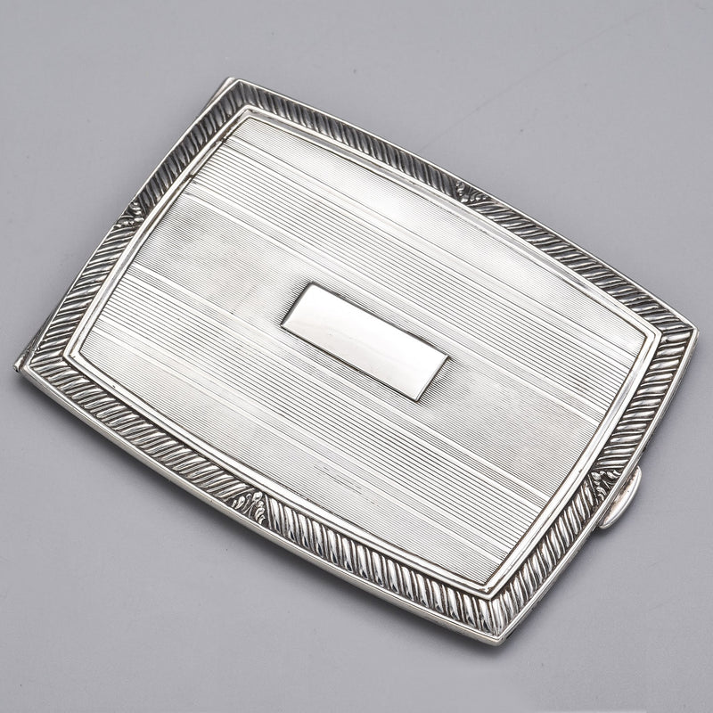 Antique Sterling Silver Etched Cigarette Money Clip Case Holder Box