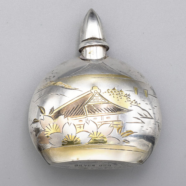 Vintage Japanese Sterling Silver Etched Landscape Perfume Bottle