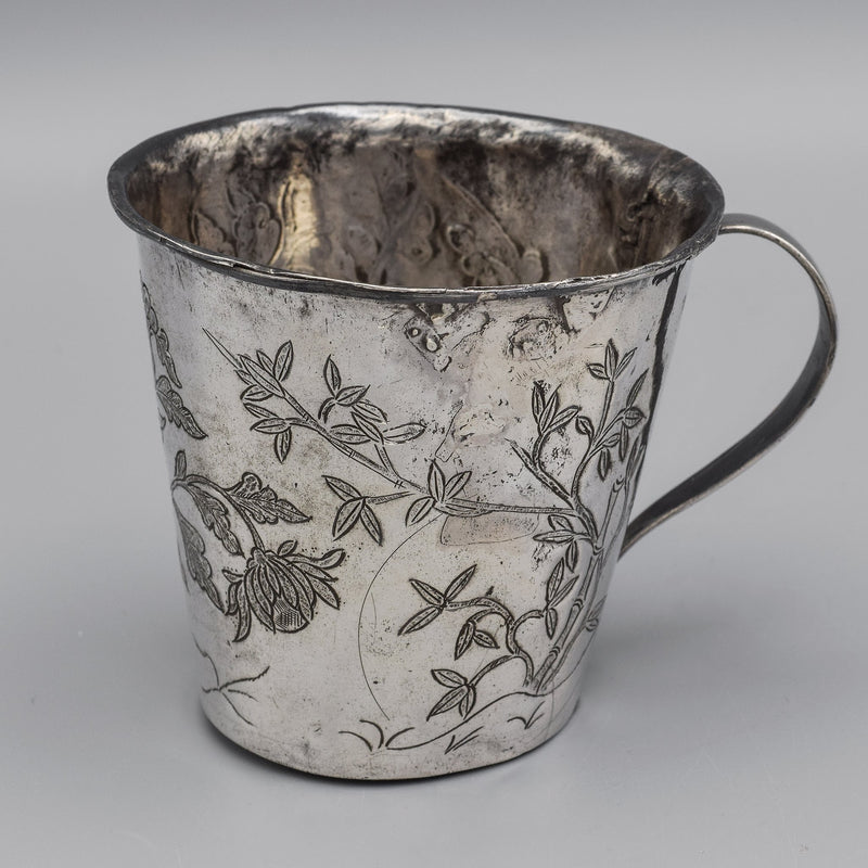 Antique Japanese Sterling Silver Floral Etched Cup Mug