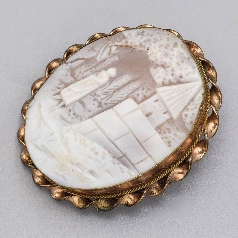 Antique Gold Filled Large Oval Cameo Brooch Pin