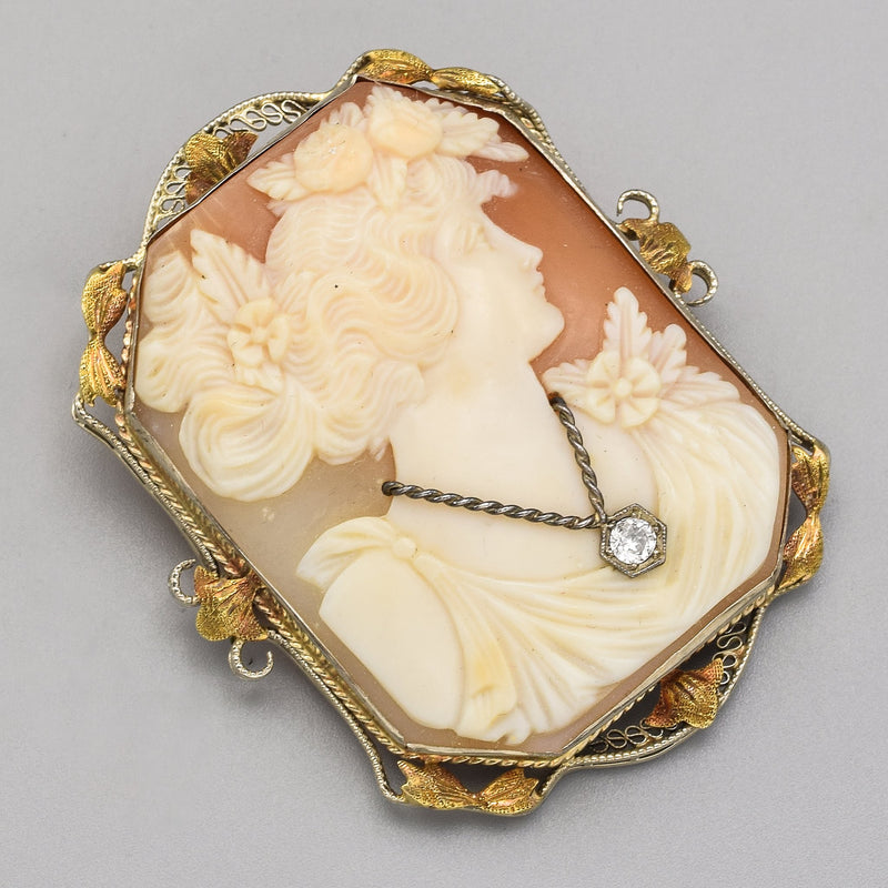 Antique 14K Gold 19th Century Cameo & 0.08 Ct Old Euro Cut Diamond Large Pendant Brooch
