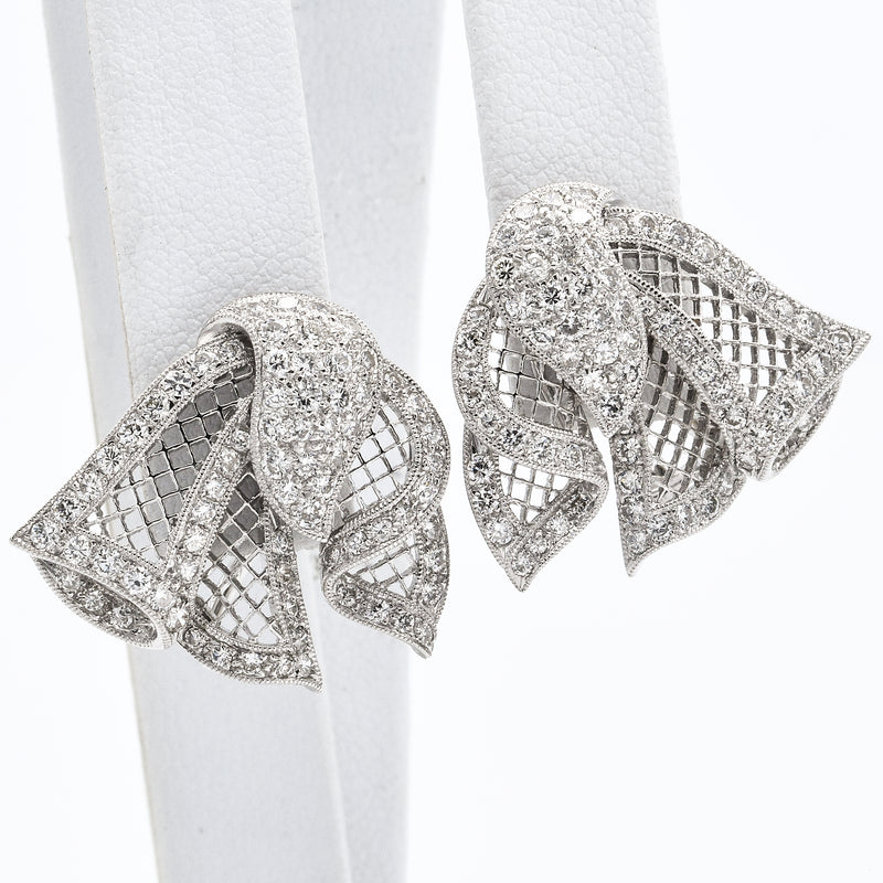 Estate 18K White Gold Diamond Filigree Ribbon Pin Brooch Earring Set