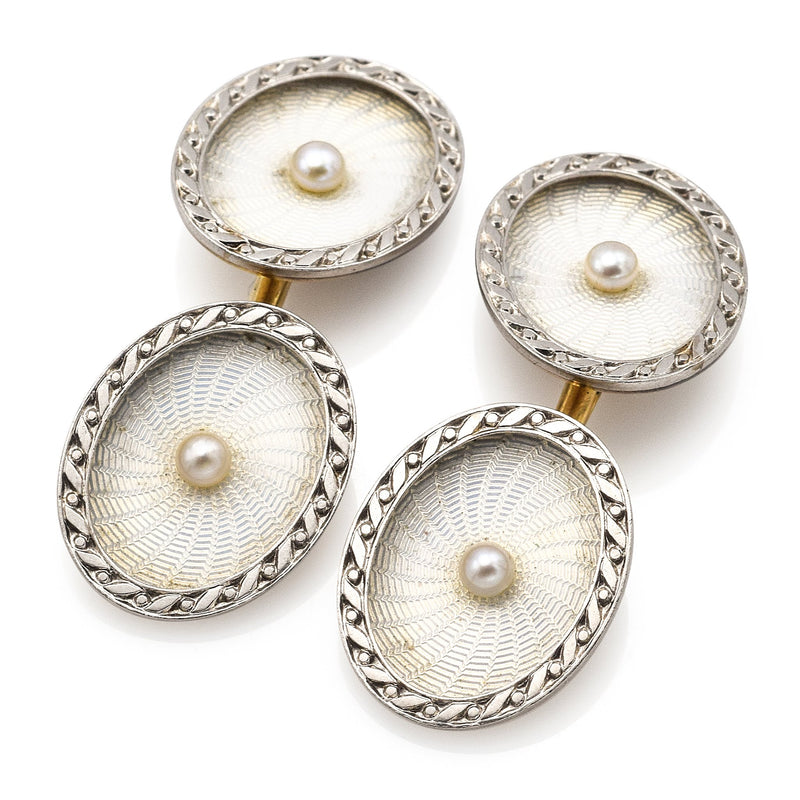 Vintage 14K Multi-Tone Gold Sea Pearl Guilloche Oval Etched Cufflinks