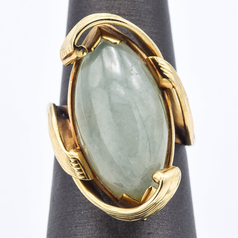 Vintage Ming's 14K Yellow Gold 16.0 Ct. Green Jade Cocktail Ring