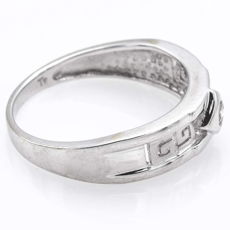 Vintage 18K White Gold Diamond Greek Key Band Ring