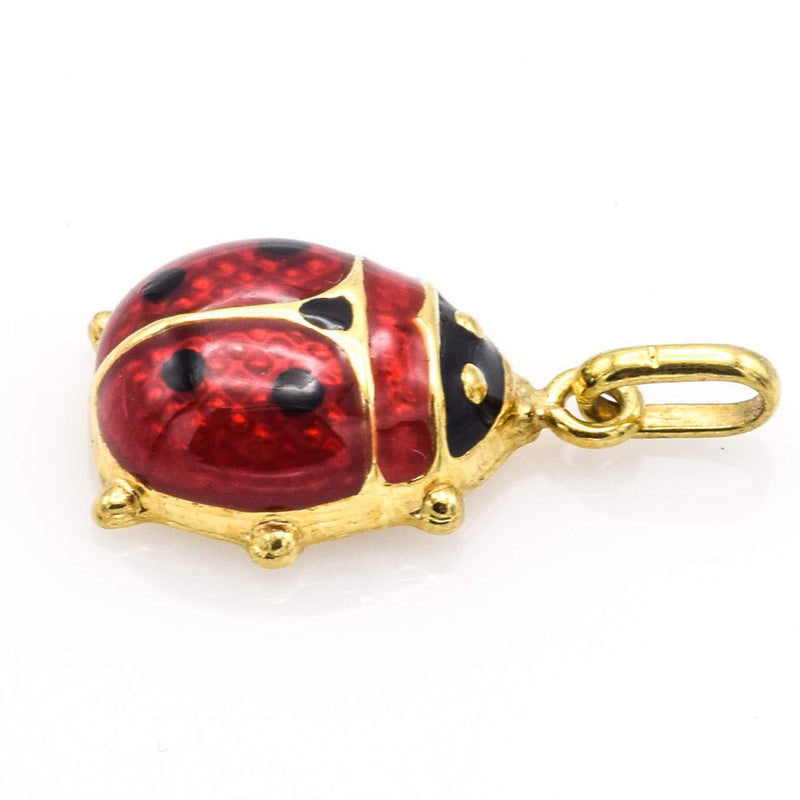 Vintage 14K Yellow Gold Red & Black Enamel Ladybug Charm Pendant