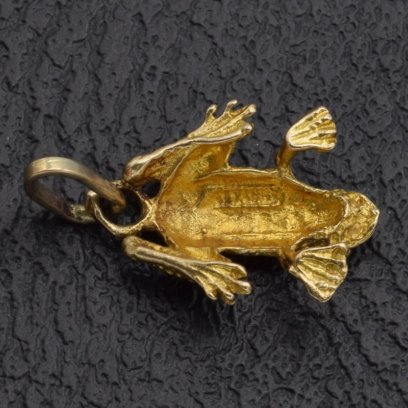 Vintage 14K Yellow Gold Frog Charm Pendant