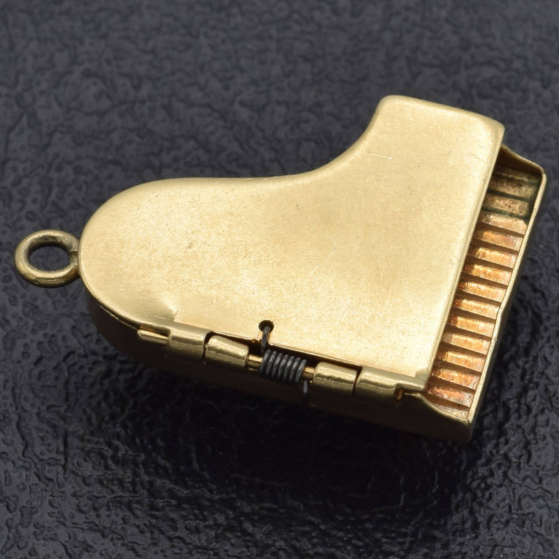 Vintage 14K Yellow Gold Movable Piano Charm Pendant