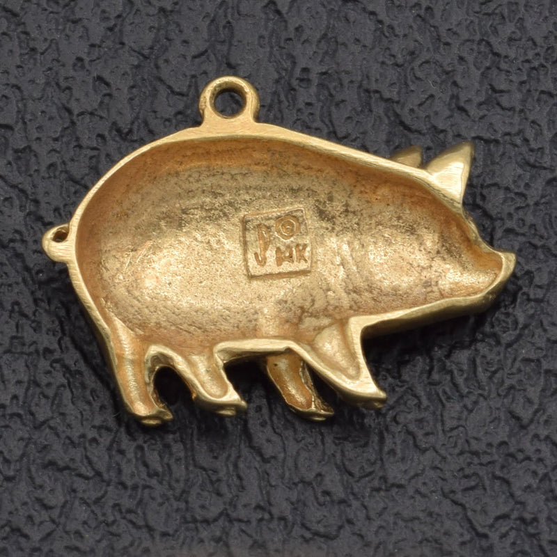 Vintage 14K Yellow Gold Pig Charm Pendant