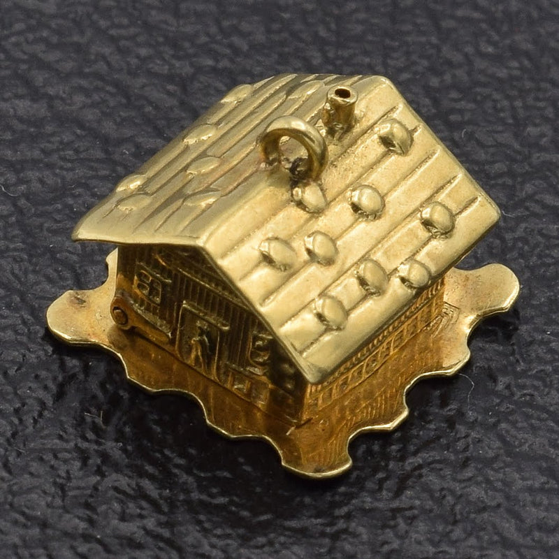 Vintage 14K Yellow Gold Movable House Charm Pendant