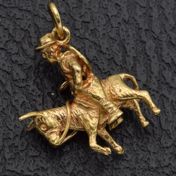 Vintage 14K Yellow Gold Man Riding Burro Donkey Charm Pendant