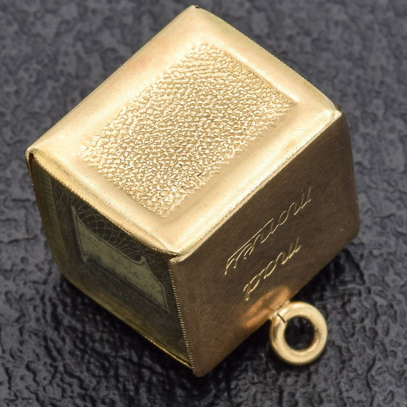 Vintage 14K Yellow Gold Money Cube Charm Pendant