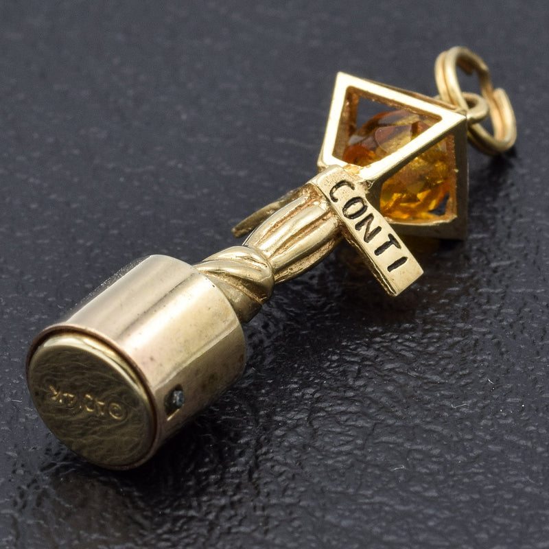 Vintage 14K Yellow Gold Bourbon Street Lamp Post Charm Pendant