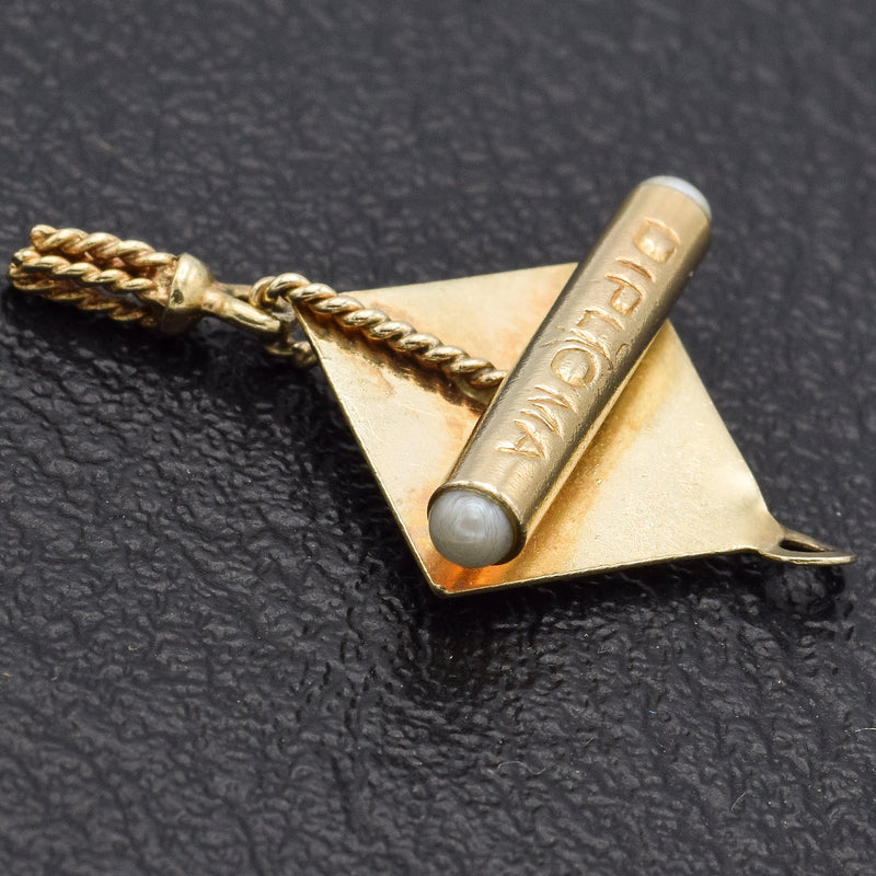 Vintage 14K Yellow Gold Graduation Cap & Diploma Pearl Charm Pendant