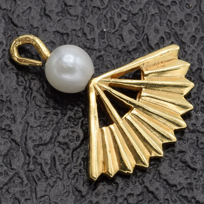 Vintage 14K Yellow Gold Pearl Fan Charm Pendant