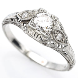 Antique 14K White Gold 0.44 Ct Diamond Band Ring