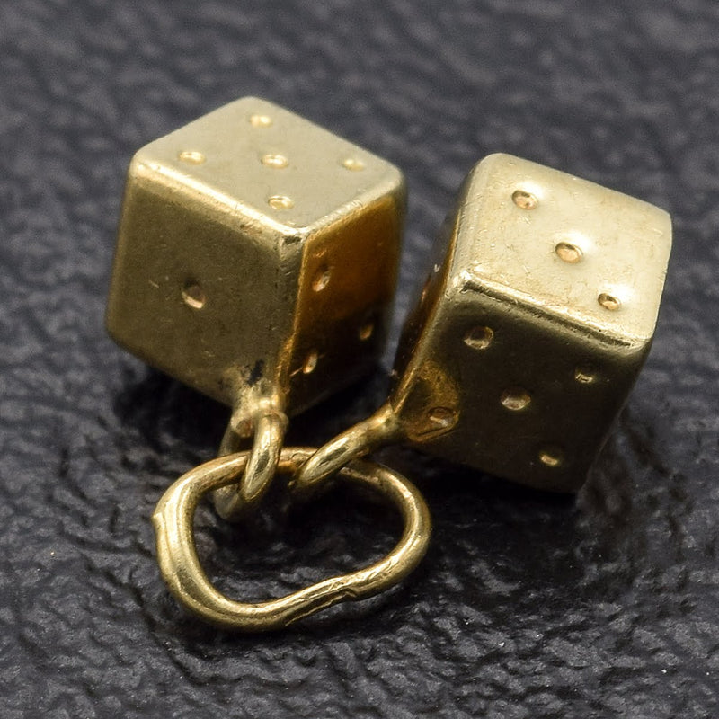 Vintage 14K Yellow Gold Dice Charm Pendant