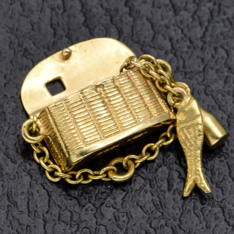Vintage 14K Yellow Gold Fishing Creel Basket Charm Pendant
