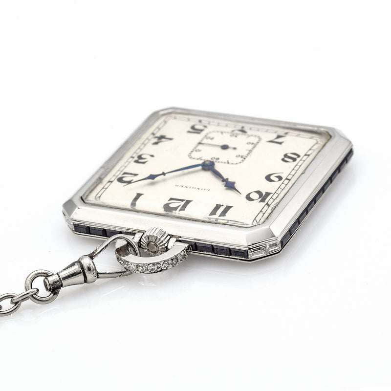 Antique Platinum Longines Pocket Watch With Platinum Chain