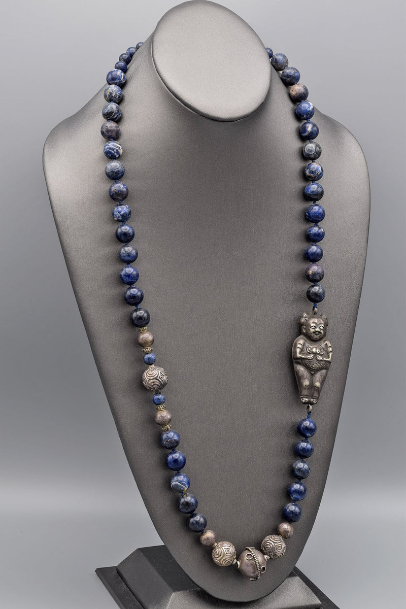 Chinese Antique Sterling Silver Nezha Sodalite Beaded Strand Necklace