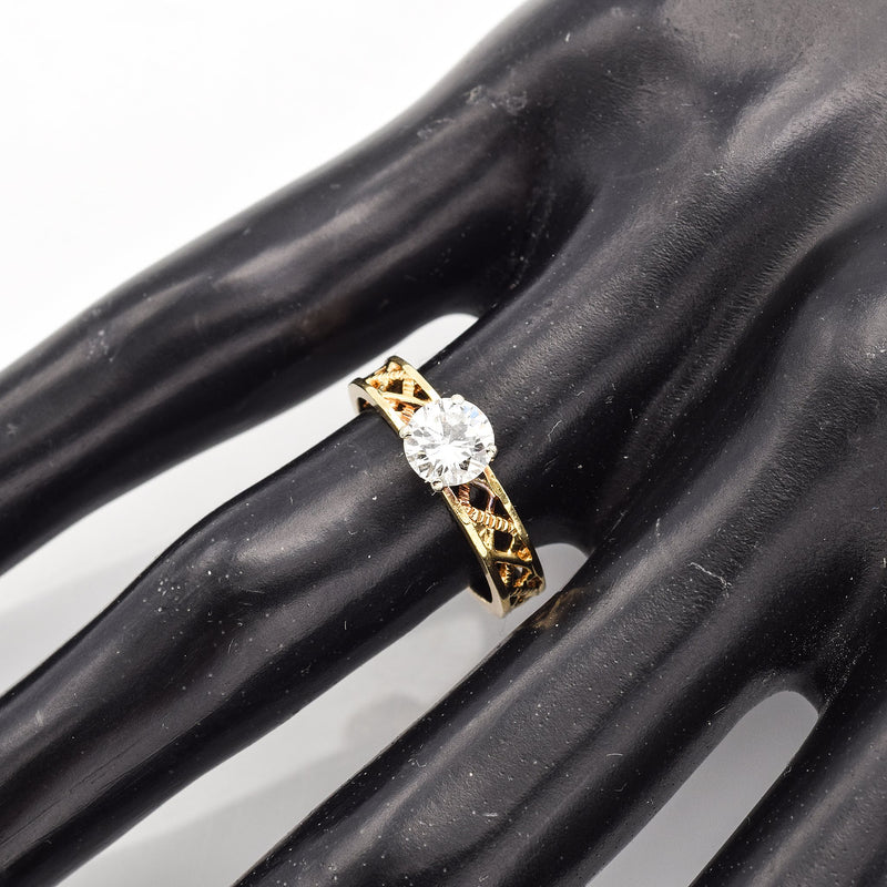 Vintage 14K Yellow Gold Diamond Solitaire Filigree Band Ring