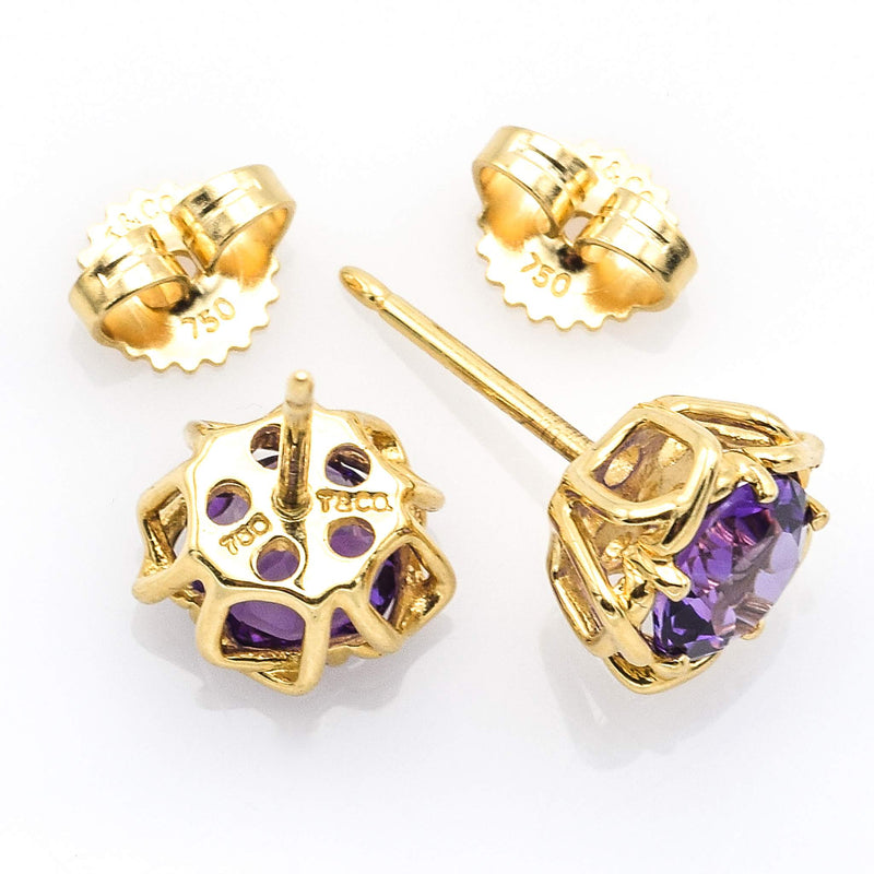 Tiffany & Co. 18K Yellow Gold Amethyst Stud Earrings