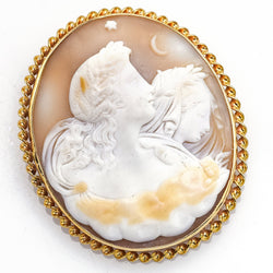 Antique 14K Yellow Gold Large Oval Cameo Brooch Pin Pendant