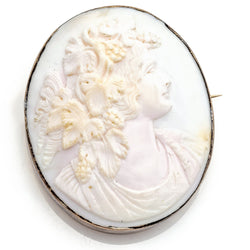 Antique 14K Yellow Gold Large Oval White Cameo Brooch Pin