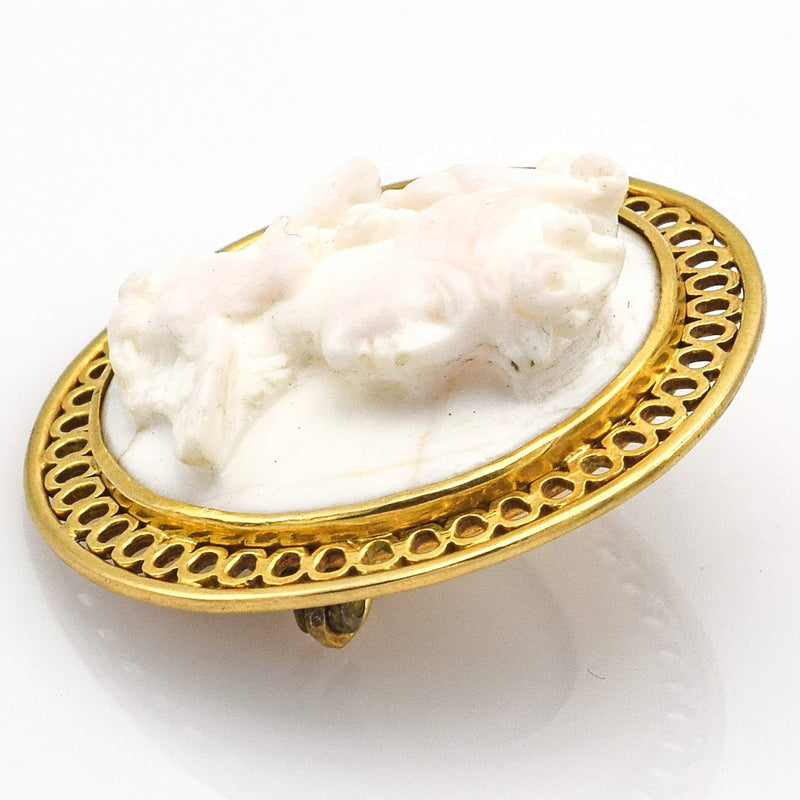 Antique 10K Yellow Gold Round White Cameo Brooch Pin