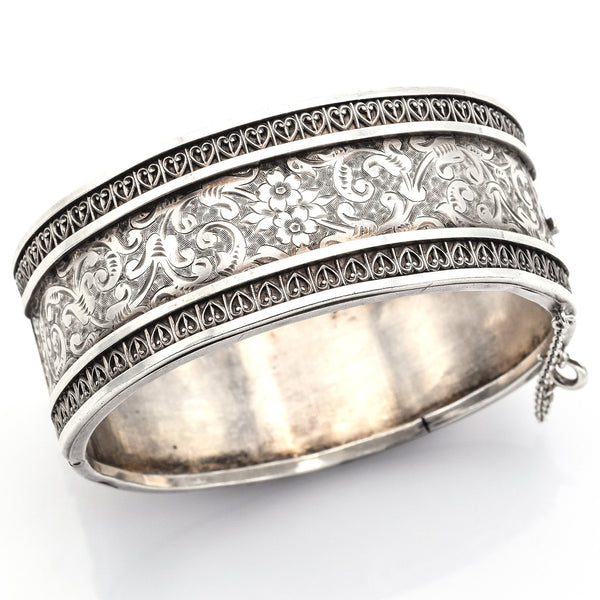 Antique Sterling Silver Victorian Floral Etched Bangle Bracelet
