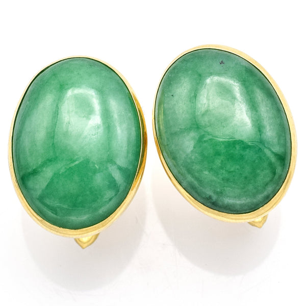 Vintage 14K Yellow Gold 26.74 TCW Green Jade Oval Cabochon Cuff Links