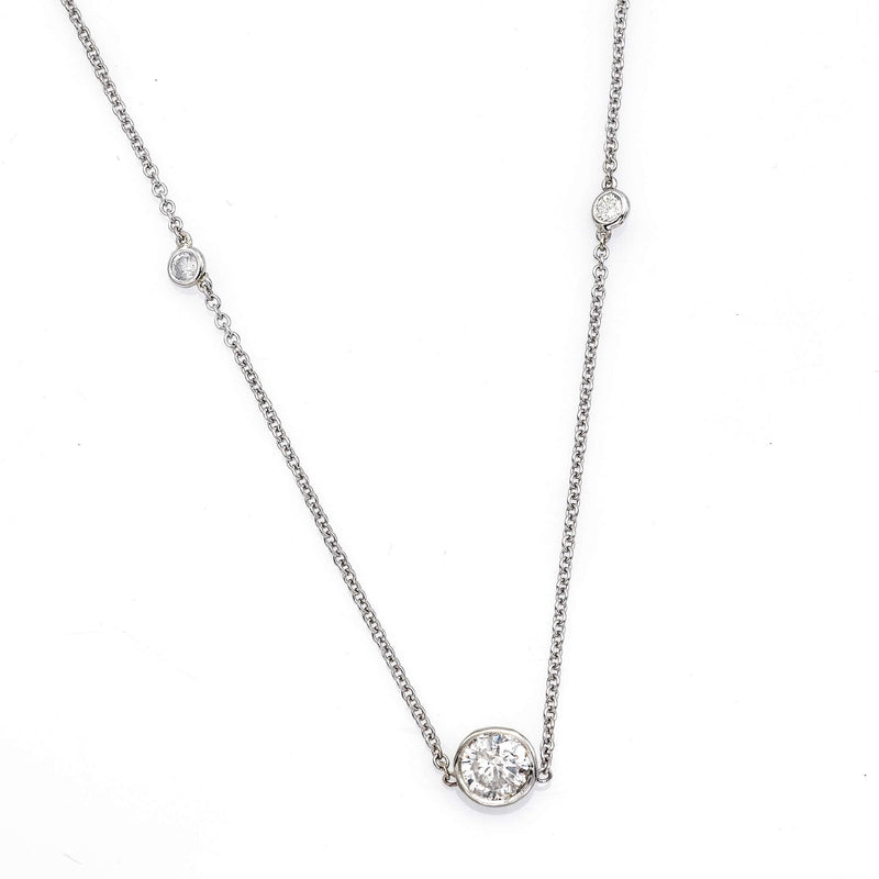 Estate 14K White Gold 2.09 TCW  Diamond Station Necklace