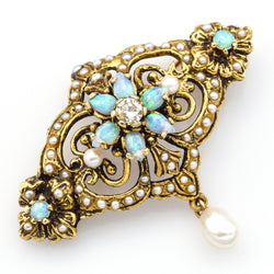 Antique Victorian 14K Gold Opal, Diamond & Sea Pearl Brooch Pin