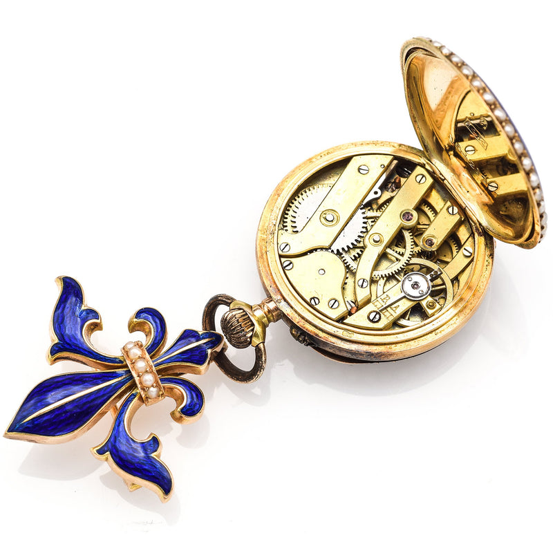 Antique 14K Gold Enamel Pocket Watch With Swiss Movement