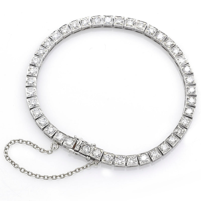 Antique Platinum 4.62 TCW Diamond Tennis Bracelet