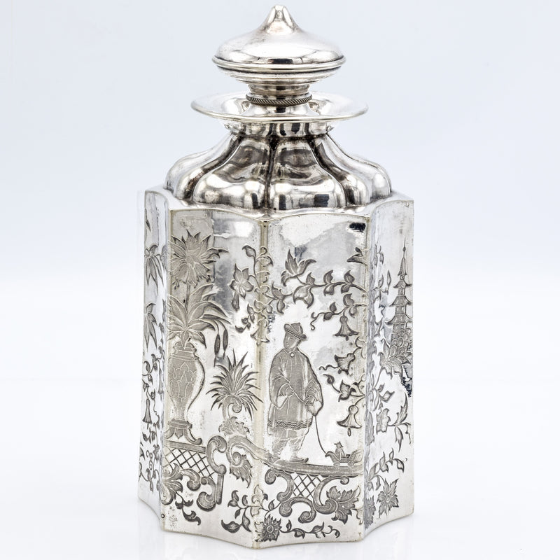 Antique 1886 .800 Silver German Flask With Chinoiserie Design