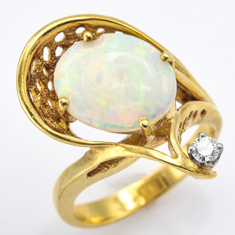 Vintage 14K Yellow Gold Opal Diamond Ring G/H SI-1