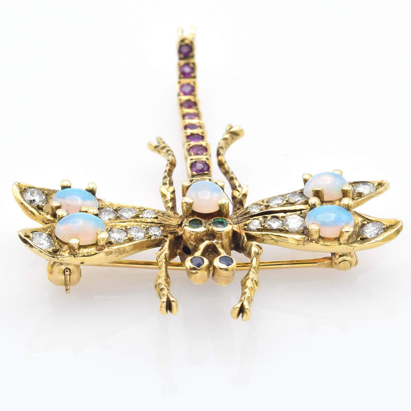 Antique 14K Yellow Gold Multi-Stone & 0.7 TCW Diamond Dragonfly Brooch Pin