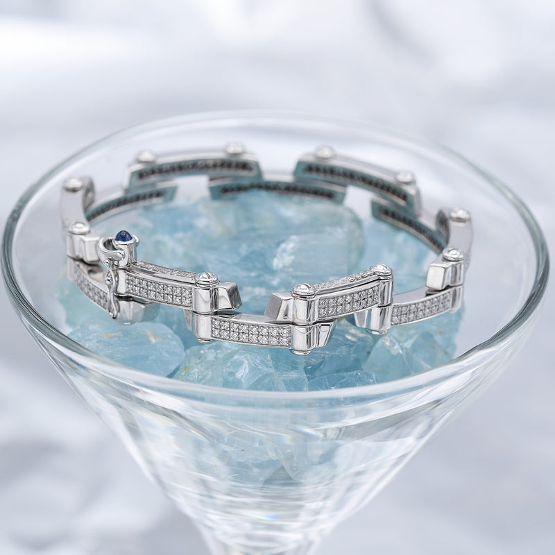 Charriol 18K White Gold Diamond Millennium Bracelet