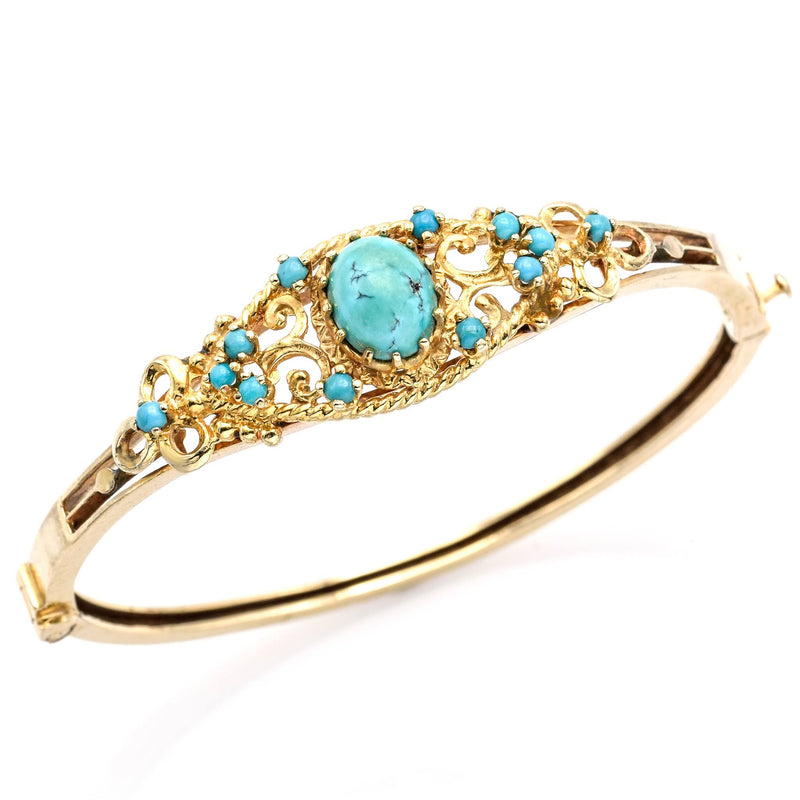 Antique Victorian 14K Yellow Gold Turquoise Hinged Bangle Bracelet
