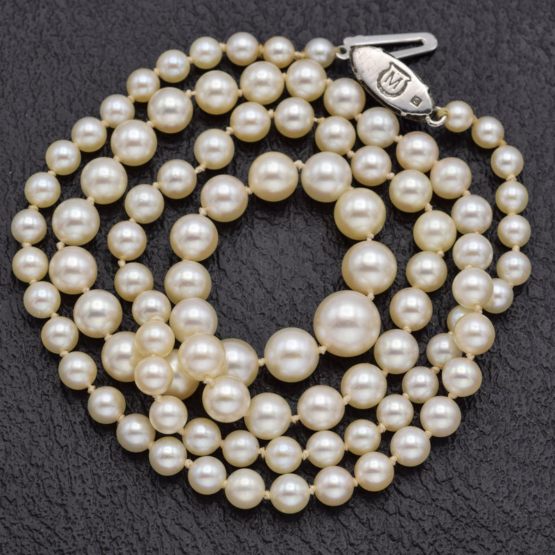 Vintage Mikimoto Sterling Silver Sea Pearl Single-Strand Necklace
