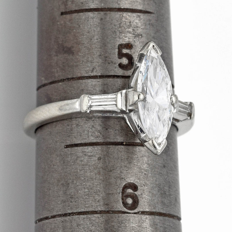 Estate 14K White Gold Marquise Diamond Band Ring